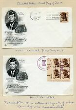 UNITED STATES MAY 29,1967 13c JFK STAMP ON TWO FD COVERS CANCELED IN DALLAS TX