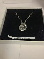 """Ammonite Fossil AKR Emblem on Silver Platinum Plated Necklace 18"""""""