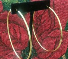 """NEW WOMENS 1 PAIRS GOLD PLATED EXTRA LARGE 3"""" INCHES DANGLE ROUND HOOP EARRINGS"""