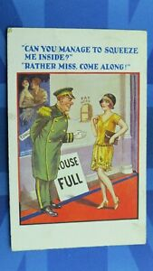 Saucy Comic Postcard 1930's Picture House Cinema Theatre Flapper HOUSE FULL