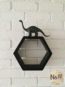 Handmade Wooden Hexagon Wall Shelf in Black Colour