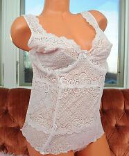 Vtg Escante Pink Satin Nylon Fancy Lace Sissy Camisole Bustier Top sz 3X