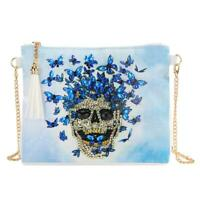 DIY Skull Special Shaped Diamond Painting Leather Chain Shoulder Bag Clutch N#S7