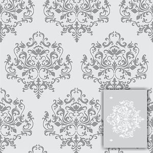 """Damask wall stencil kit *2 INCLUDED* LARGE 12""""x9"""" Faux Mural Pattern paint"""