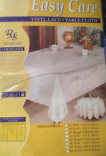 White Vinyl Lace Easy care No iron Wipe Clean PVC Tablecloth SIZE 150CM X228CM