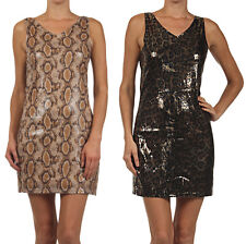 NEW Sexy Sparkling Sequin Embellished Snake Leopard Print Tank Mini Dress