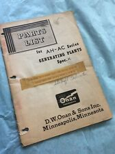 Onan Ah Ac Series Generator GenSet Parts List Manual Book Guide Shop Service