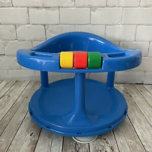 Vintage 1989 Safety 1st First Baby Bath Tub Seat Swivel Ring Suction Cups Blue