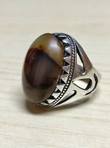 Vintage Beautiful 925 Sterling Silver Ring Agate Big Stone Men Jewelry Size 10.5
