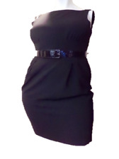 JONES NEW YORK Dress Size 14 Black Sleeveless Belt Classy EUC