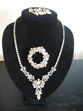 Signed Sherman AB Crystal Parure Necklace Brooch Dangle Earrings Set