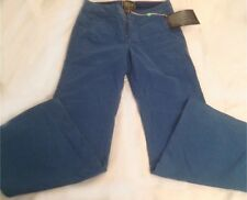 NWT $230 Rich & Skinny Peacock Blue Pinstriped Wide Flare Leg Pants Size 28