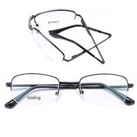 Rectangular Folding Eyeglasses Frames Semi Rimless Half Rim Glasses Mens Womens