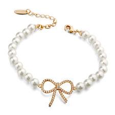 Perlen Schleife Armband Bracelet 18K pl. Rose Gold vergoldet Kristall Geschenk