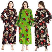 Plus Size Muslim Women Flower Maxi Dress Flare Sleeve Kaftan Cocktail Vintage