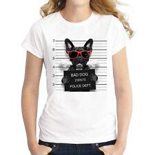 Damen Frauen Kurzarm T-Shirts Sommer Oberteil Shirts mit lustigen motiven