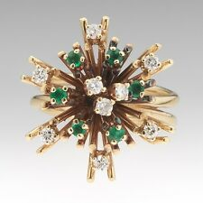 Vintage 14k Yellow Gold Emerald and .45 ctw Diamond Star Burst Ring Sz 7.25