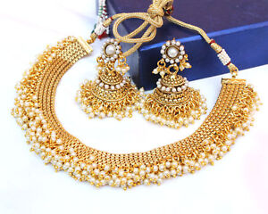 Indian Bollywood Jewelry Fashion Pearl Gold Plated Necklace Jhumki Earring Women