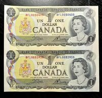 1973 $1 BANK OF CANADA UNCUT SHEET OF TWO PREFIX BFL- UNC!!