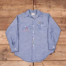 "Vintage pour homme Big Mac JC Penney 70 S brodé Chambray Shirt Medium 40"" XR 8713"