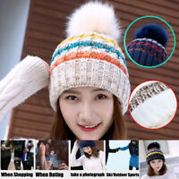 Lady Womens Knitted Bobble Hat Beanie Warm Winter Lining Windproof Ski Cap Hats