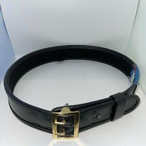 "Bianchi 7960 Sam Browne Duty Belt Plain Black w/ Brass Buckle (38"" - 40"")"