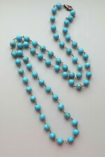 Howlite gemstone bead long necklace .. turquoise colour copper statement jewelry