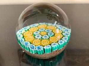 Vintage Millefiori Scrambled Cane Flowers Glass Paperweight