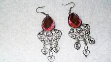 Pink Stone Chandelier Dangle Bollywood Exotic Pair of Earrings Jewelry Fashion