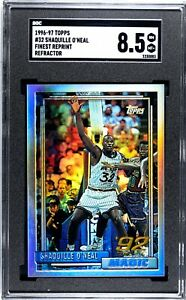 1996 TOPPS FINEST SHAQUILLE O'NEAL #32 ROOKIE REPRINT REFRACTOR SGC 8.5