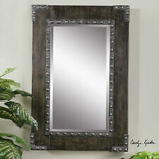 AGED FINISH BEVELED WALL VANITY MIRROR RUSTIC WESTERN RESTORATION STYLE DETAIL