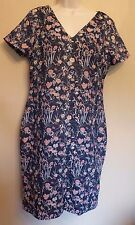 Per Una UK14 EU42 US10 navy-mix floral short-sleeved lined dress