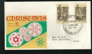 1974 Christmas Pair 10 & 35c  Wesley, WCS FDC