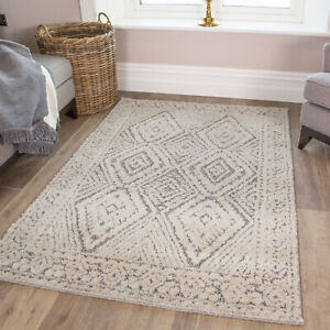 Quality Traditional Cream Rug Scandi Moroccan Bedroom Rugs Cheap Boho Area Mat