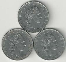 3 OLDER 50 LIRE COINS from ITALY (1955, 1956 & 1957)