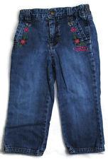 GUESS Girls Kids Clothes Denim Blue Elastic Waist FLOWERS Pants Jeans 24 Months
