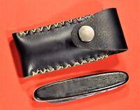 """""""SOLINGEN"""" INOX Black Handle Vtg c.1960's  German Pocket Knife w/Leather case"""