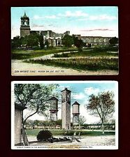 TX40 San Antonio, 2 Pcs. used Mission 1909- Clock Tower Fort Sam 1917