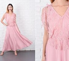 Vintage 70s Pink Boho Dress Floral Lace Peplum Maxi Hippie Small S