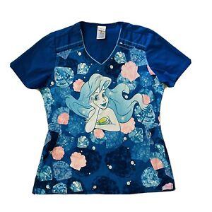 Disney The Little Mermaid Ariel Scrub Top Sm Side Pockets Blue Nurse Shirt