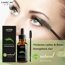 Castor Oil Eyelashes Eyebrow Enhancer Boost Growth Serum Essential Oil + Brush