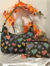 Dooney & Bourke Heart PVC Small Hobo Shoulder Bag w/ Matching Zip-Around Wallet