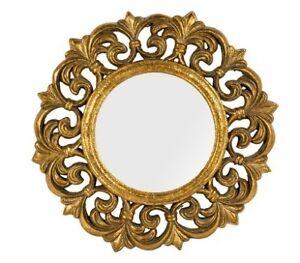 Specchio cornice barocco foglia oro in legno da  50 cm arredo specchiera stile