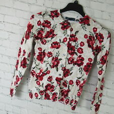 Karen Scott Sweater Womens Petite Small PS Gray Red Floral Print MSRP