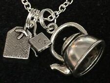 "Tea Pot Large 3D And Tea Bag Charm Tibetan Silver with 18"" Necklace BIN"