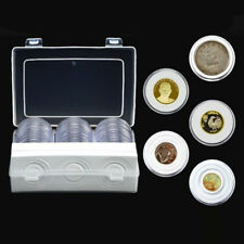 30Ps 16/20/25/27/30/38/46mm Clear Round Cases Coin Storage Boxes Capsules Holder