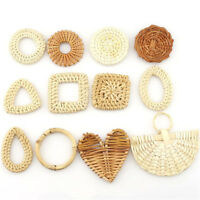 1pair/2pcs Wood Square Drop Heart Diy Straw Weave Rattan Earring Jewelry Finding