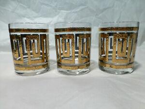 Lot of 3 Vintage Culver Greek Key MCM Barware Glass Cocktail 22k Gold