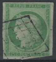 """FRANCE STAMP TIMBRE N° 2 """" CERES 15c VERT 1850 """" OBLITERE A VOIR  K570"""