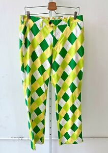 LOUDMOUTH Mens Golf Pants Argyle Diamond Flat Front Green Yellow White 34 x 32L